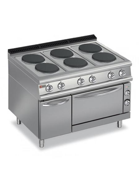 Cocina industrial con horno eléctrica 6 placas