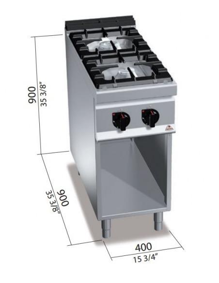 Berto's - Cocina 2 fuegos sobre base abierta
