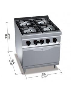 Berto's - Cocina 4 fuegos con horno a gas