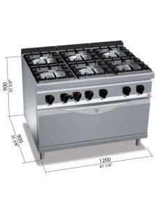 Berto's - Cocina 6 fuegos con horno gigante