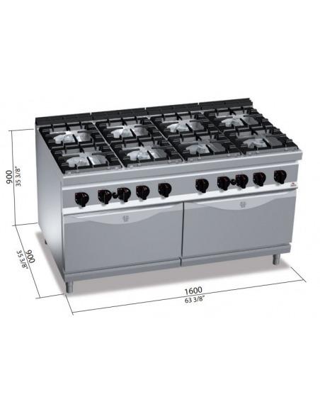Berto's - Cocina 8 fuegos con 2 hornos a gas