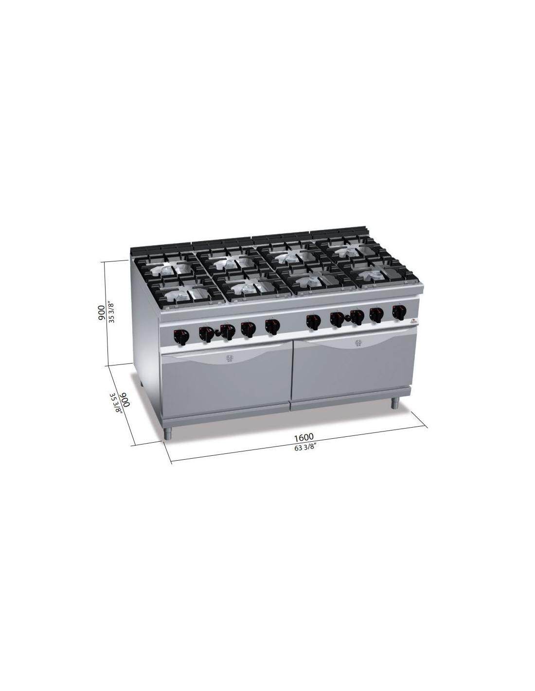 Cocina industrial a gas 8 fuegos con 2 horno for Cocinas 5 fuegos gas