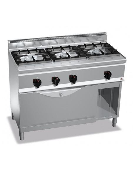 Berto's - Cocina industrial 3 fuegos con horno MAXI