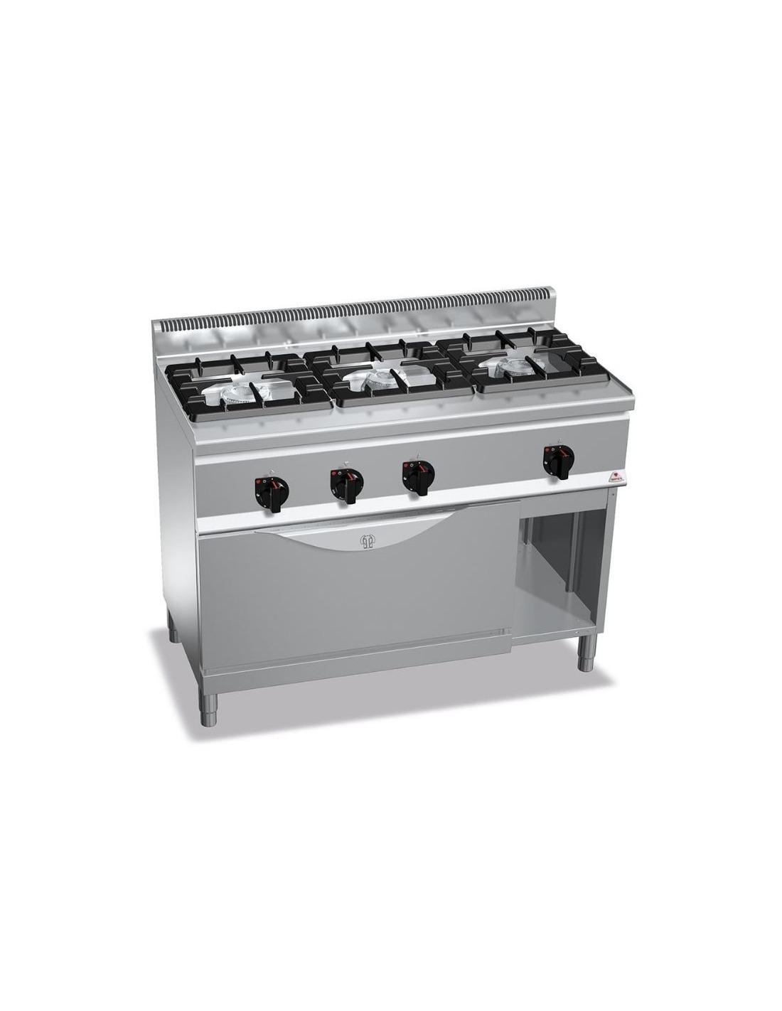 cocina industrial de 3 fuegos restaurante con horno