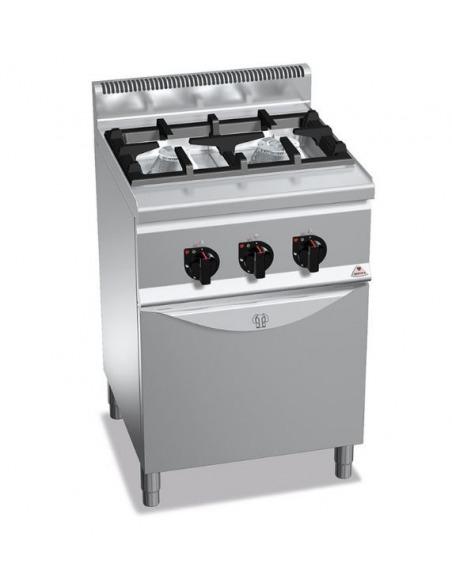 Berto's - Cocina industrial 2 fuegos con horno gastronorm