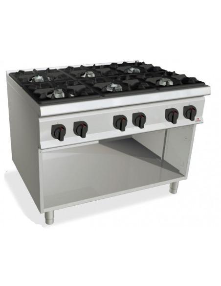 Berto's - Cocina industrial 6 fuegos potenciada