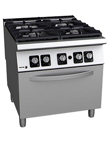 Fagor - Cocina industrial 4 fuegos con horno