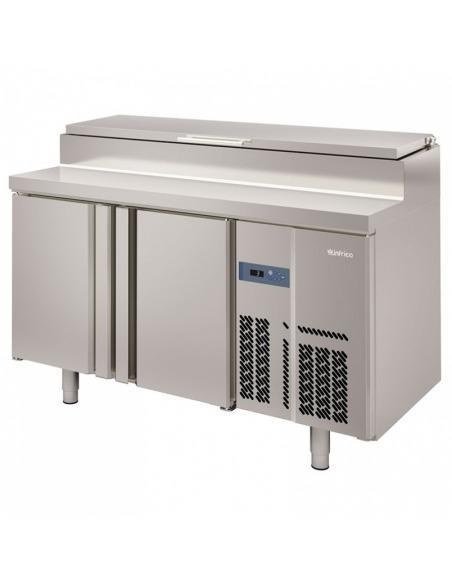Mesa fría 2 puertas fondo 600 preparación ensaladas