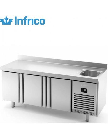 Infrico - Mesa fría con fregadero 3 puertas